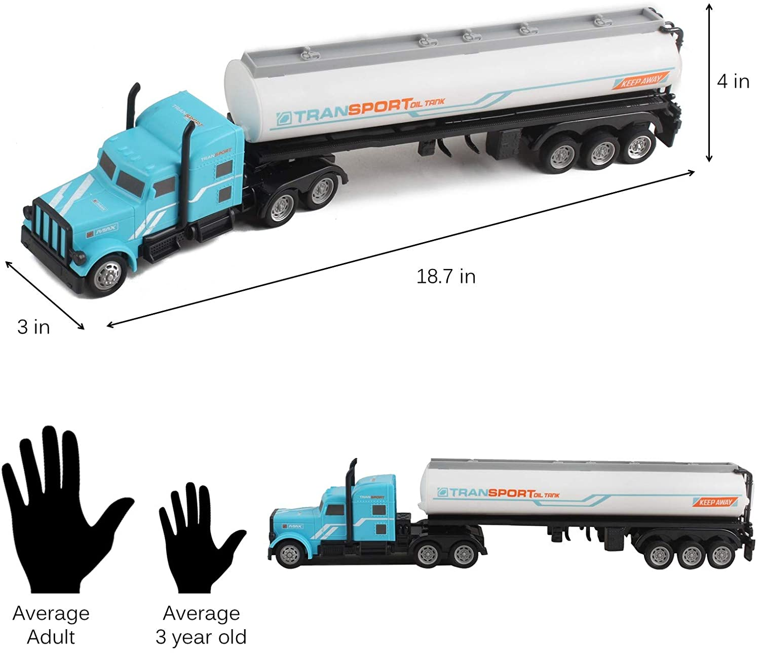 Vokodo Rc Semi Truck And Trailer 18 Inch 2 4ghz Fast Speed 1 16 Scale Electric Fuel Oil Hauler Rechargeable Battery Included Remote Control Kids Big Rig Toy Tanker Car Great Gift For Children